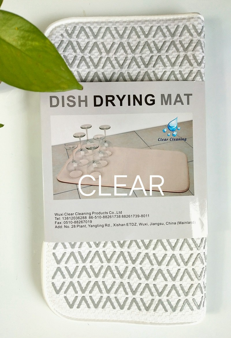 Microfiber dish drying mat